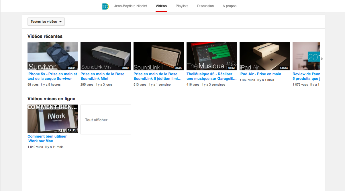 Interface YouTube