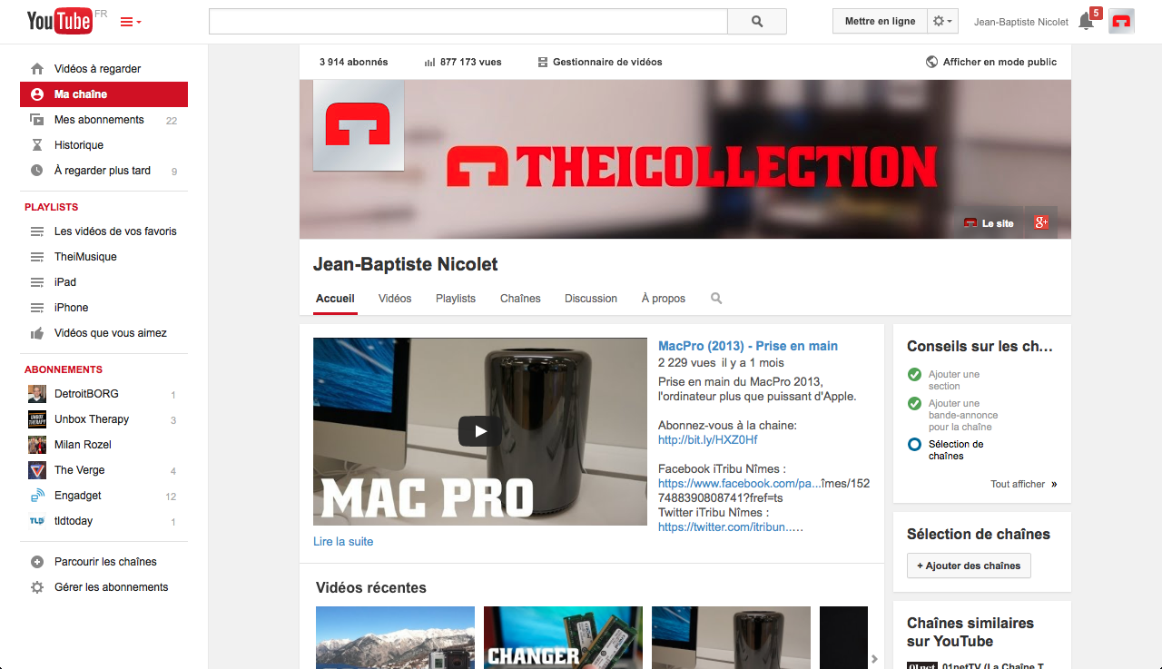 Changement d'interface YouTube