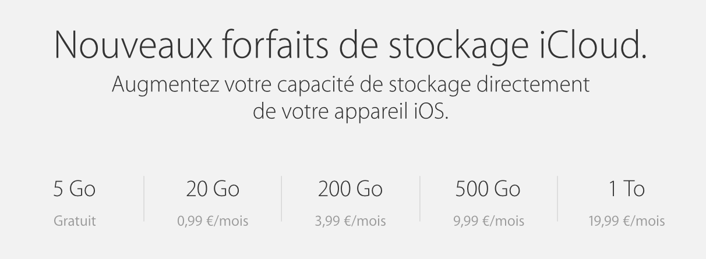 iCloud, nouveaux tarifs